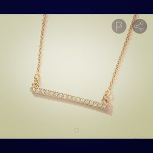 Pave bar necklace ~ Gold